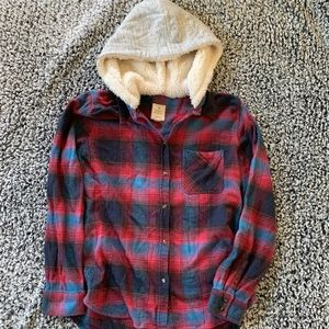 American Eagle Hooded Flannel